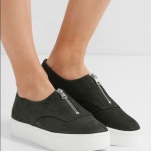 VINCE suede zipper platform sneakers